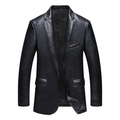 One Button Faux Leather Jacket