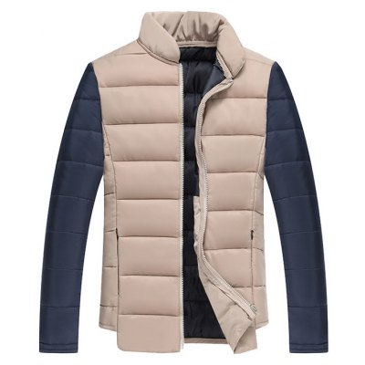 Color Block Splicing Stand Collar Zip Up Cotton Padded Jacket