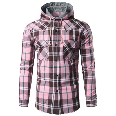 Button Up Hooded Plaid Shirt