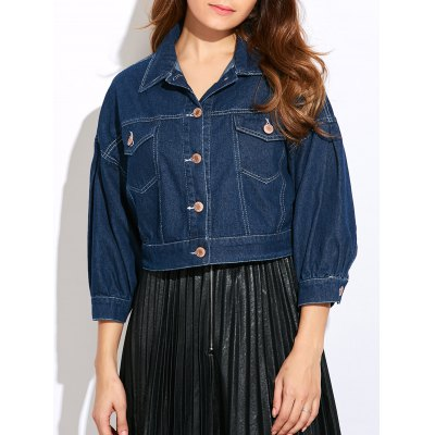 Double Front Pockets Crop Thin Jean Jacket