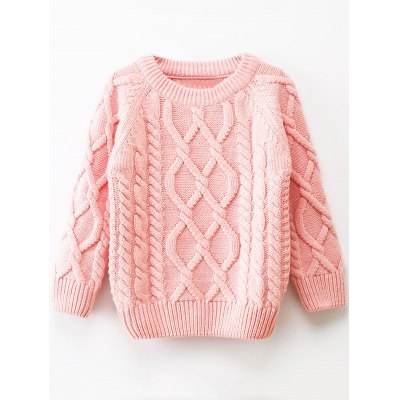 Girls Crew Neck Cable Knit Pullover Sweater