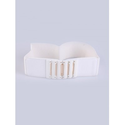 PU Waist Decoration Stretch Buckle Elastic Wide Belt