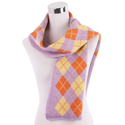 Warm Checked Knitted Scarf