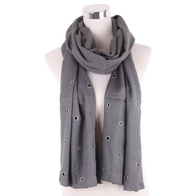 Hollow Rivet Knitted Scarf