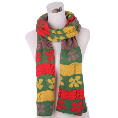 Color Block Flower Knitted Scarf