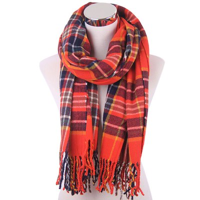 Winter Plaid Fringe Knitted Scarf