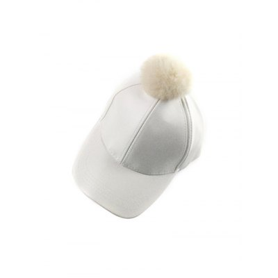 Winter Faux Leather Fur Pompom Baseball Hat