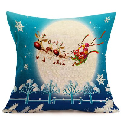 Merry Christmas Santa Flying Cushion Pillow Cover