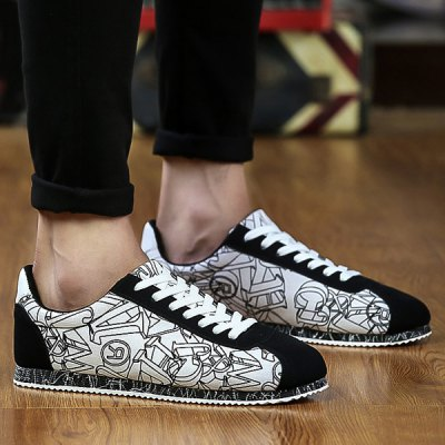 Letter Pattern Tie Up Casual Shoes