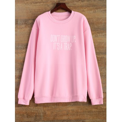 Jewel Neck Letter Pattern Sweatshirt
