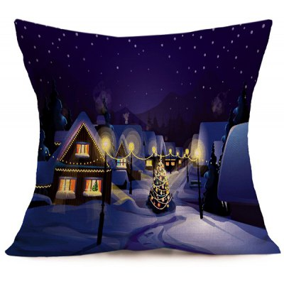 Peaceful Night Christmas Linen Cushion Pillow Cover