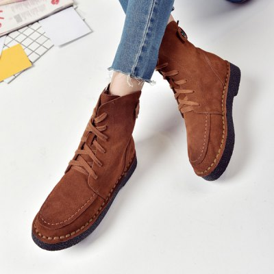 Stitching Flat Heel Suede Combat Boots