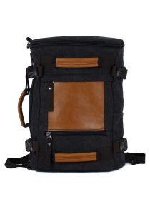PU Leather Canvas Zippers Backpack