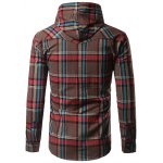 Chest Pocket Button Up Hooded Plaid Shirt deal