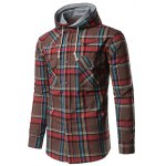 cheap Chest Pocket Button Up Hooded Plaid Shirt
