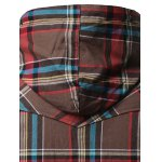 best Chest Pocket Button Up Hooded Plaid Shirt