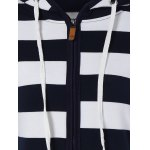 Wide Striped Zipper Drawstring Hoodie for sale
