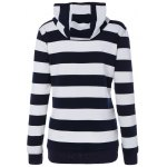 cheap Wide Striped Zipper Drawstring Hoodie