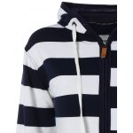 Wide Striped Zipper Drawstring Hoodie deal