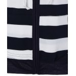 Wide Striped Zipper Drawstring Hoodie photo