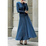 Long Sleeve Zippered Maxi A Line Dress for sale