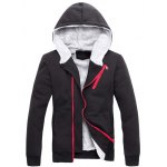 cheap Zipper Embellished Color Block Hoodie Twinset