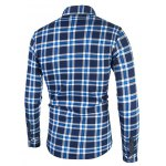 cheap Tartan Print Turndown Collar Flocking Shirt