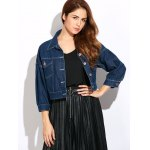 cheap Casual Double Front Pockets Crop Jean Jacket