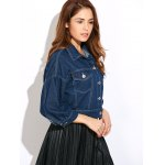 Double Front Pockets Crop Thin Jean Jacket deal