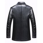 cheap Pocket One Button Faux Leather Jacket