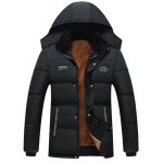Hooded Embroidered Plus Size Thicken Flocking Zip Up Down Coat