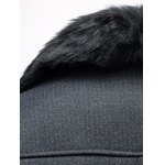 Faux Fur Collar Thicken Single Breasted Flocking Quilted Jacket for sale