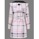 cheap Tie Belt Hooded Plaid Woolen Coat