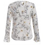 cheap Pussy Bow Flower Print Ruffled Blouse