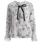 Pussy Bow Flower Print Ruffled Blouse