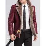 cheap Fur Lapel Single Breasted PU Leather Jacket