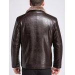 Fur Lapel Single Breasted PU Leather Jacket deal