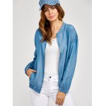 cheap Zippered Long Sleeve denim Jacket