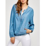 Zippered Long Sleeve denim Jacket