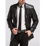 Single Breasted Epaulet Design PU Leather Coat deal