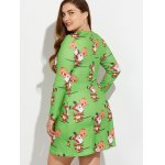 Christmas Plus Size Santa and Reindeer Print Dress deal