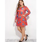 Christmas Plus Size Ornate Reindeer Print Dress for sale