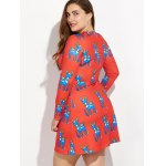 Christmas Plus Size Ornate Reindeer Print Dress deal