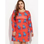 cheap Christmas Plus Size Ornate Reindeer Print Dress