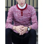 Crew Neck Buttons Design Knit Blends Long Sleeve Sweater for sale