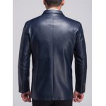 Lapel Button Up Pocket PU Leather Jacket deal
