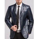 cheap Lapel Button Up Pocket PU Leather Jacket