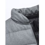 Applique Stand Collar Zip Up Cotton Padded Jacket deal