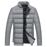 Buy Applique Stand Collar Zip Cotton Padded Jacket XL GRAY