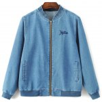 Zipped Embroidered Denim Bomber Jacket